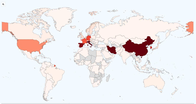 Mapa de infectados por Coronavirus en el mundo a 17 de marzo de 2020 kitsupervivencia.com